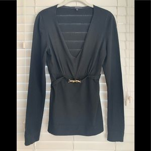 GUCCI soft black wool blend belted sweater L